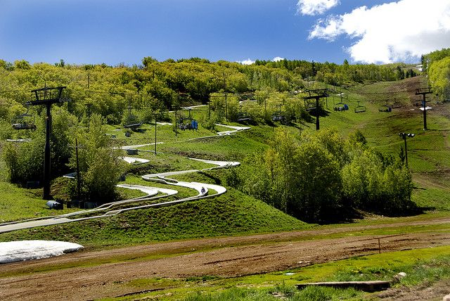 The Alpine Slide located at the Park City Ski Resort in Utah. Excellent summer fun, riding the ski lift up to the top, and zooming back down on sleds running through the concrete tracks.
