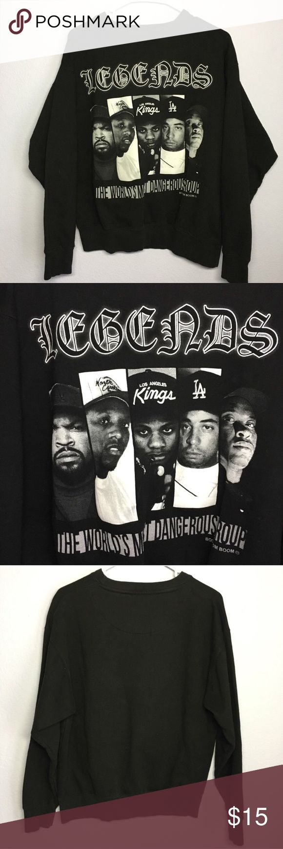 "NWA Legends Crewneck Sweatshirt ""The World's Most Dangerous Rap Group"". Like new, never worn or washed. Medium  #nwa#rap#hiphop#drdre#eazy-e#icecube#la#losangeles#compton Sweaters Crewneck"