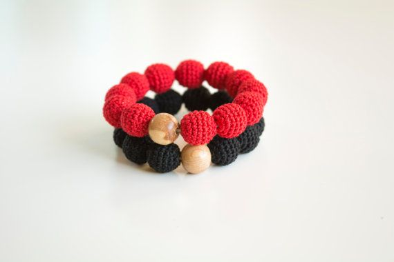 Red & black double teething bracelet for babywearing by MyFirstToy