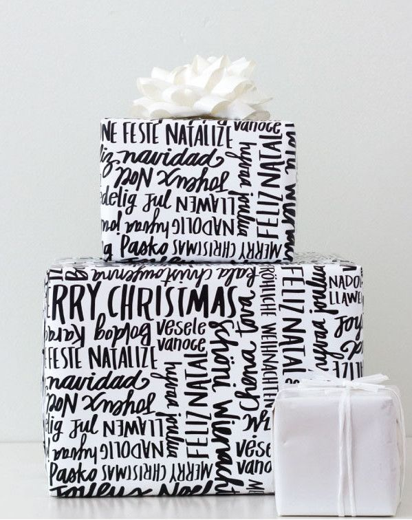 Free printable Christmas gift wrap. Love the black and white!