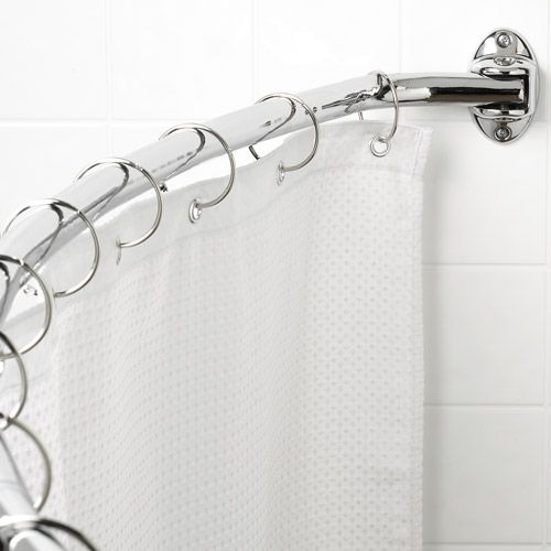 Sweet... curved shower curtain rod... this is going to be a part of my corner stage!