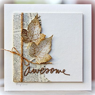 simple white card leaf text twine
