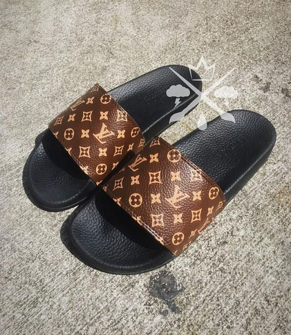 Louis Vuitton Luxury Designer LV Custom Slides Sandals Flip size 10 (online  only) 31df07f2f