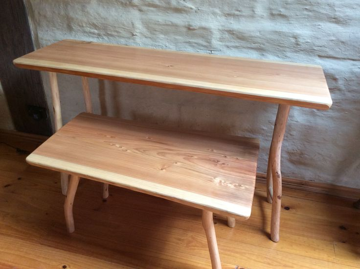 Banksia wood side table and coffee table, or desk and seat. Bush furniture made by Graeme Henchel, 2014.
