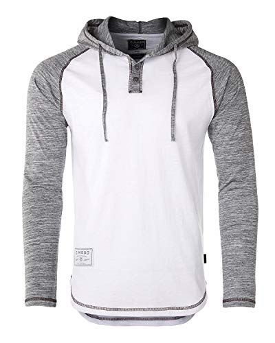 384648fdd379 ZIMEGO Men s Contrast Long Sleeve Round Bottom Raglan Hoodie Henley T-Shirts