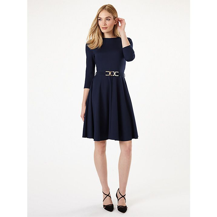 Buy Phase Eight Belted Ponte Swing Dress, Navy, 6 Online at johnlewis.com