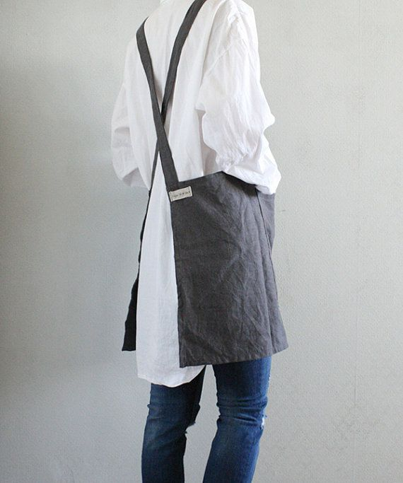 Criss-Cross Short Apron/ Charcoal linen Square cross No-ties Apron