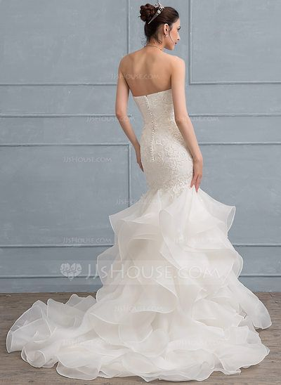 8f20373038 Trumpet Mermaid Sweetheart Sweep Train Zipper Up Covered Button Strapless  Sleeveless Church General Plus No Winter Spring Summer Fall Ivory Organza  Lace ...