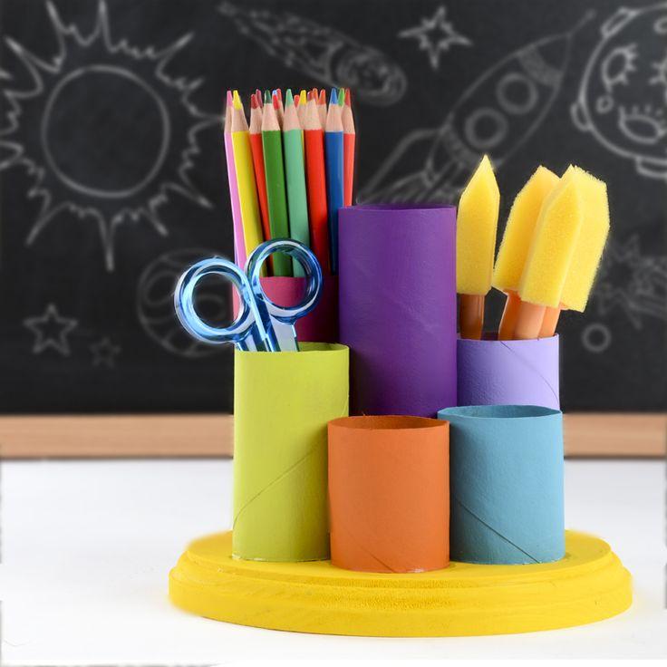 Make your own desk organizer  DIY pencil cups  easy kids crafts  Moore Organization  Desk