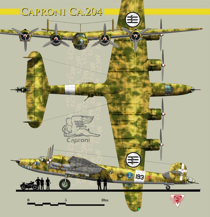 """Caproni Ca.204 a 4 engine strategic bomber built In 1938 for the public competition Bombardiere a Grande Raggio, """"long range bomber"""". The competition set by the Regia Aeronautica, the winner was the Cant.Z 1014, in second place the Caproni Ca.204 and in third place the Piaggio P.108B The version powered by four Alfa AR.135 RC.132 radial engines rated at 1,350 CV the Ca.204 spec's: span 31.50 m, length 23.20 m, wing area 124.0 sq. m, empty weight 11,900 loaded 22,500 kg. max speed 515 KMPH"""