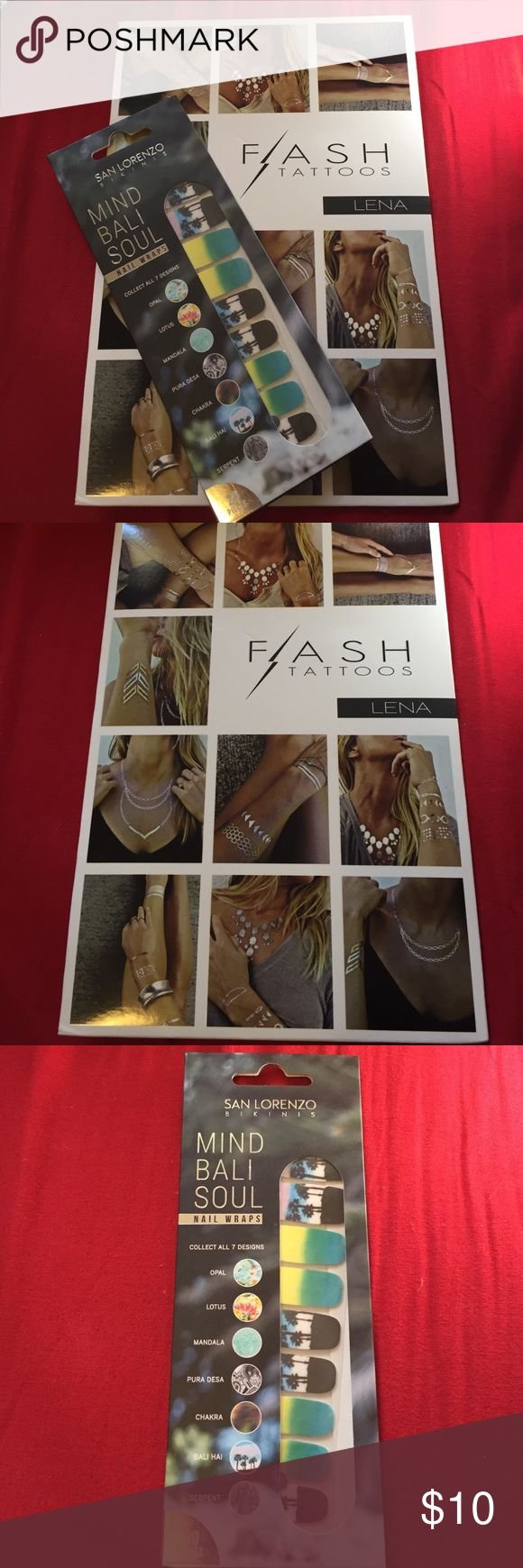 NWT bundle flash tattoos & SL nail stickers Flash Tattoos and San Lo nail stickers Flash Tattoo Other