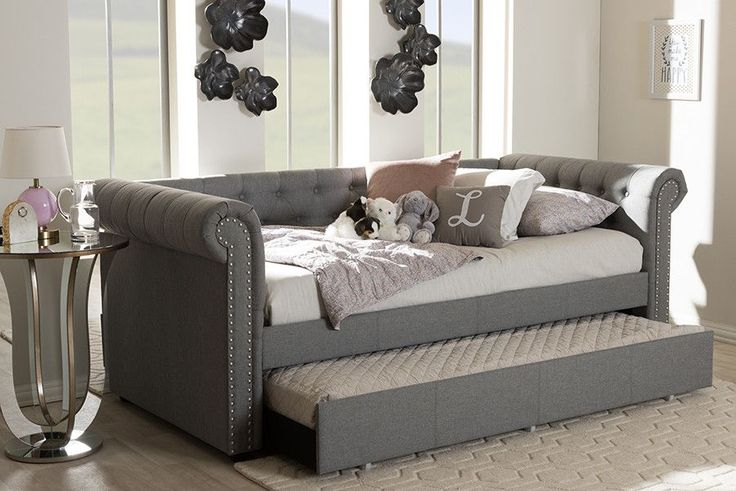 Baxton Studio Mabelle Modern and Contemporary Grey Fabric Trundle Daybed - Light Beige