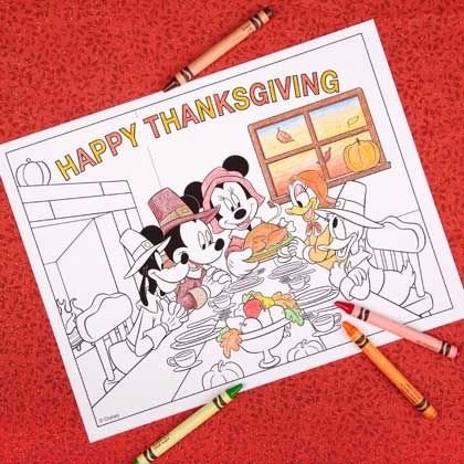 Mickey & Friends Thanksgiving Coloring Page