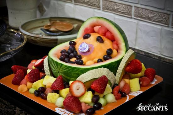 fruit tray baby carriage for baby shower maternity motherhood pin