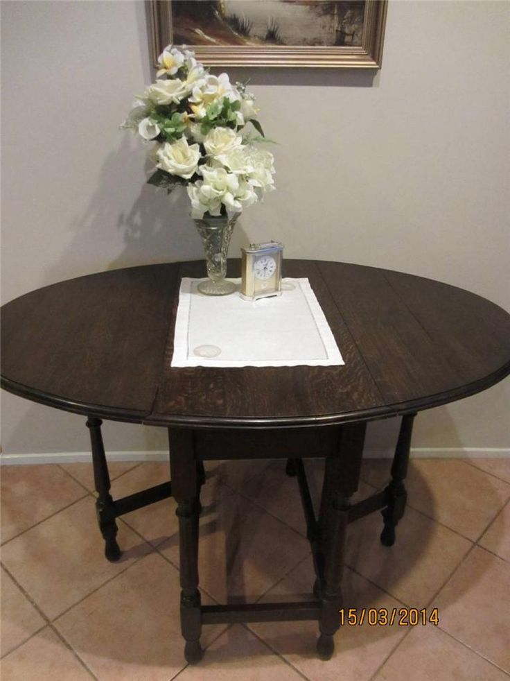 Antique OAK Gate LEG Table With Drop Down Sides in Maitland, NSW | eBay