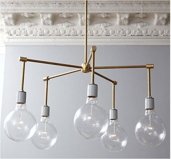 brass chandelier diy onekingslane  I LOVE THIS.  It would be fun painted a bright color as well.