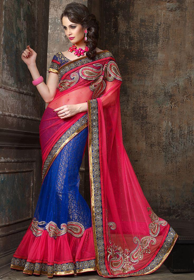 #Pink and #Blue #Saree