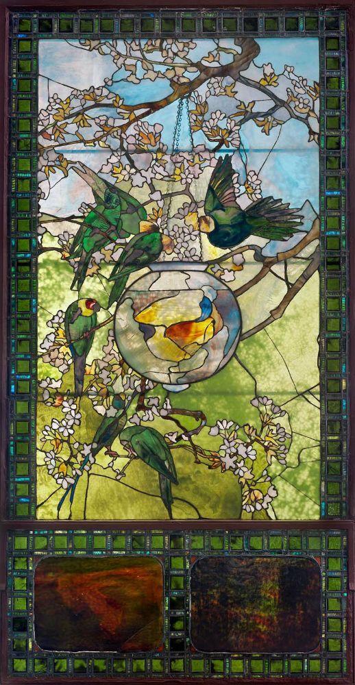 Parakeets and Gold Fish Bowl - Louis Comfort Tiffany