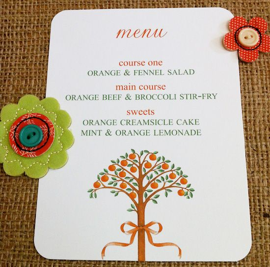 Come download your FREE printable DIY Menu - perfect for any orange themed party
