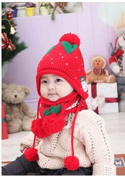 >> Click to Buy << Korea Style 2 Piece Set Strawberry children hat with scarf baby caps kid's hat for winter hat set,cute baby hats #Affiliate