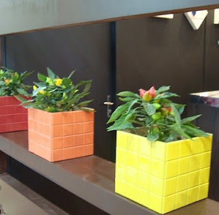 Flower box made with left over tile!                                                                                                                                                                                 More