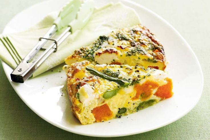 Asparagus, pumpkin and goat's cheese are are fantastic trio in this easy Spring frittata.