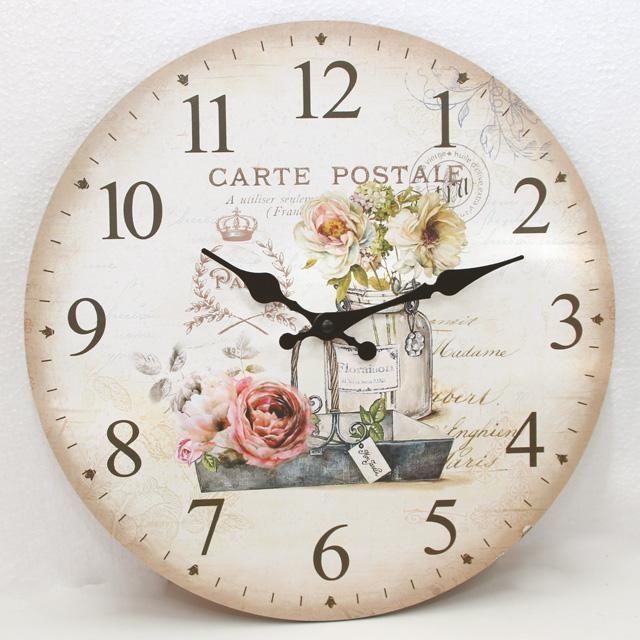 Nástěnné hodiny s květinami Provence