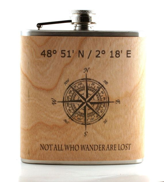 Adventurer flask - personized with longitude/latitutude - vintage art compass- real wood wrapped metal flask - unique gift sportsman -