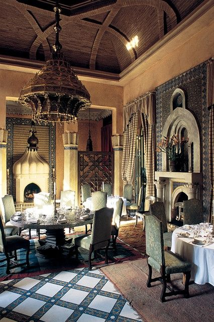 The theatrical restaurant Dar Yacout designed by Bill Willis in Marrakech.