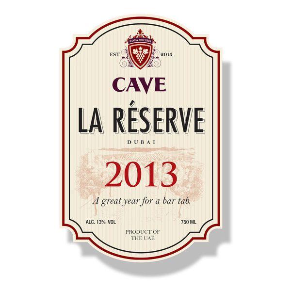 Wine label bar tab, year changes on each label. At Cave wine Bar, conrad Hotel, UAE #tab #label #wine #winelabel #bar