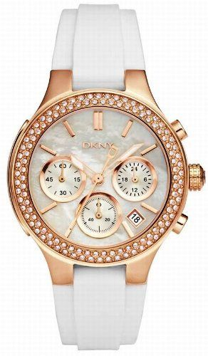 DKNY Chronograph Mother of Pearl Dial Rose Gold-tone White Rubber Strap Ladies Watch NY8198