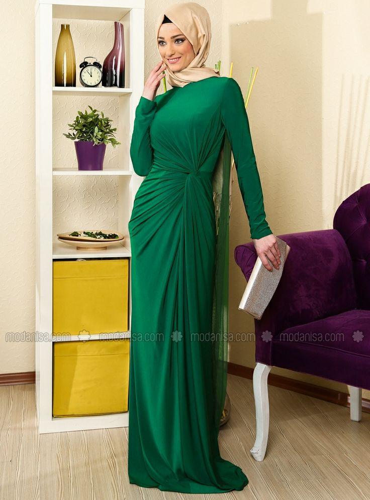 Arkası Tül Detaylı Elbise - Balezza Yeşil - Zeraf