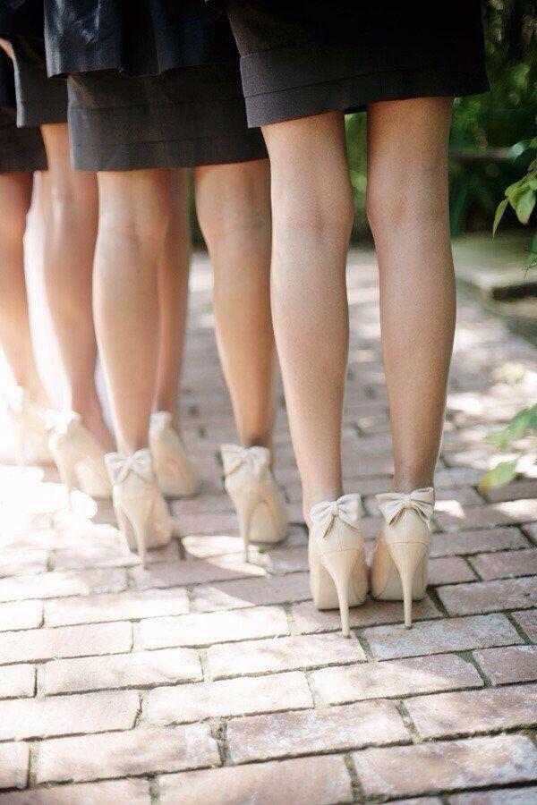 Bow backed bridesmaid heels!