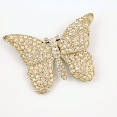 Antique rhinestone butterfly brooch