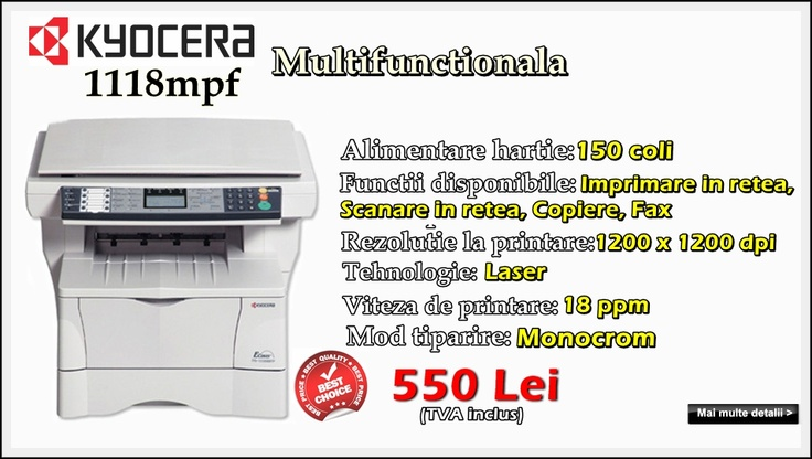 Multifunctionala second hand Kyocera 1118mpf la 550 lei