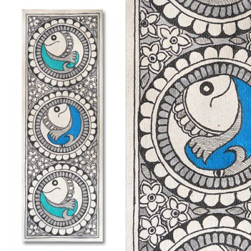 Dichromatic madhubani painting featuring fishes for Design a mural online