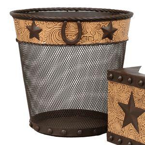 Metal Star & Horseshoe Waste Basket