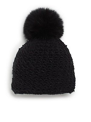 """Saks Fifth Avenue <span style=""""color: rgb(70, 79, 82); font-size: 13px; line-height: 18px; background-color: rgb(255, 255, 255);"""">Fox Fur Pom-Pom Hat</span>"""