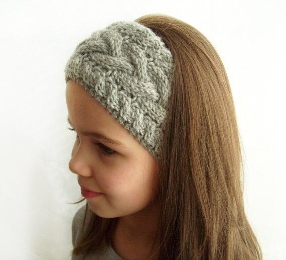 Knit Headband Ear Warmer Grey Cable Knit Headband