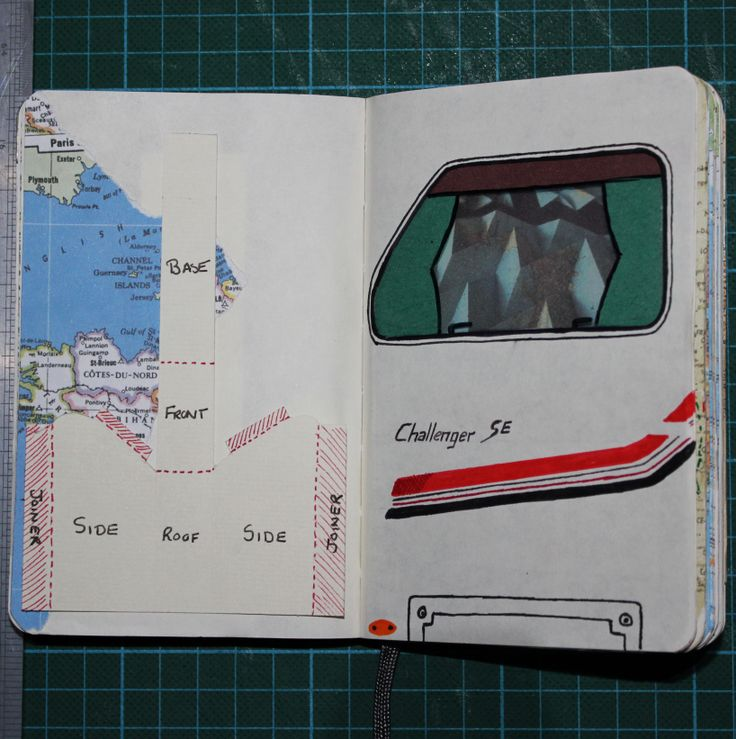 My experimenting in my sketchbook with the idea of including windows in my caravan.  Here i have inserted an acetate window into my sketchbook and experimented with the idea of a caravans exterior.