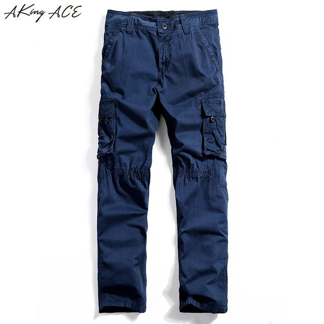 Discounted $29.74, Buy New 2017 Free shipping Men's blue cargo pants with mutil pockets casual pants for men vintage zipper pantalon cargo homme, ZA217