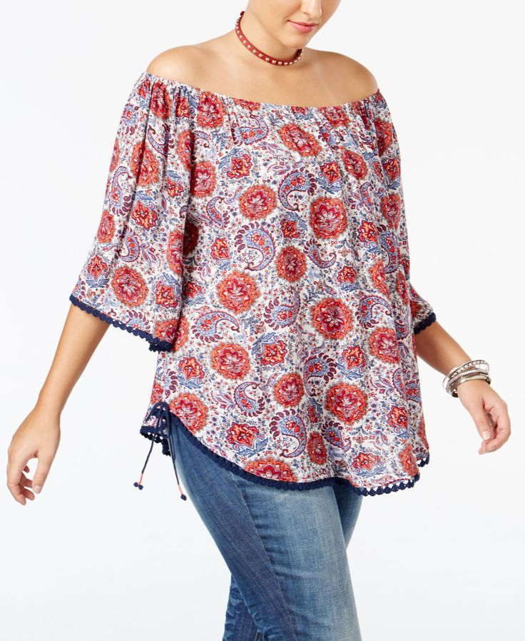 American Rag Trendy Plus Size Off-The-Shoulder Peasant Top, Only at Macy's