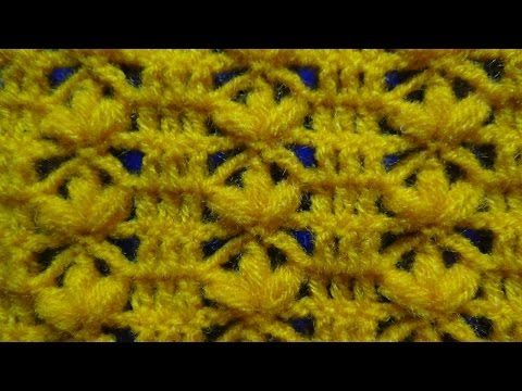 crochet: punto flores en fila - YouTube