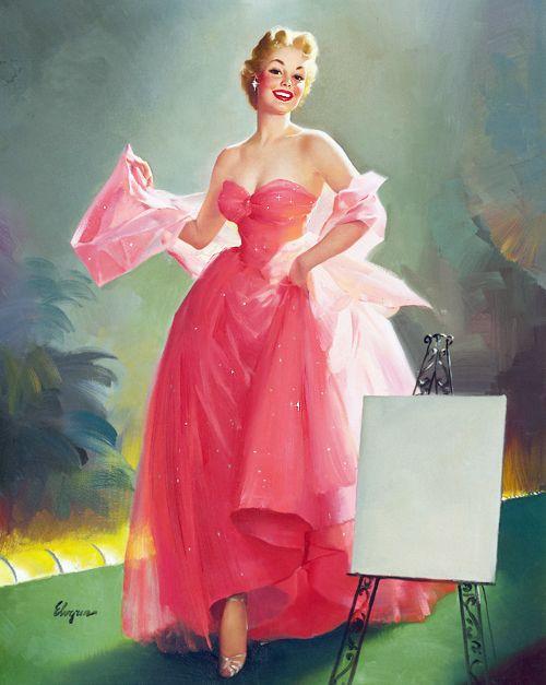 """Miss Sylvania"" for Sylvania calendar by Gil Elvgren c. 1950's"