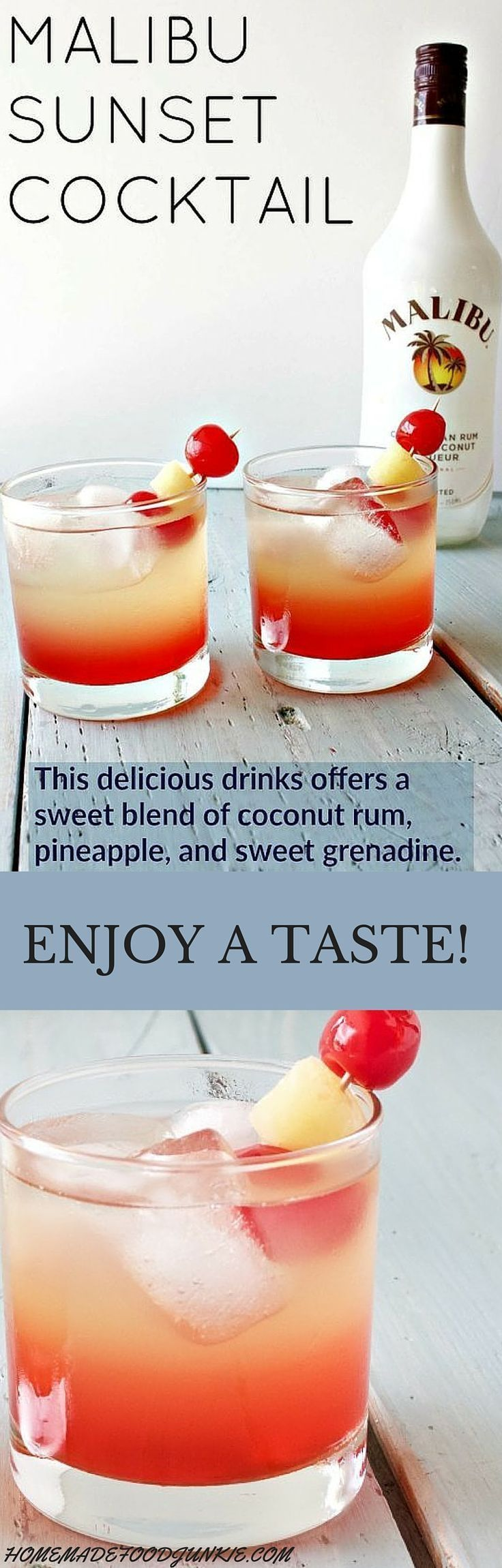 Delicious and refreshing Malibu sunset cocktail. This easy to make, lovely drink offers a beautiful blend of coconut rum, pineapple, and sweet grenadine.