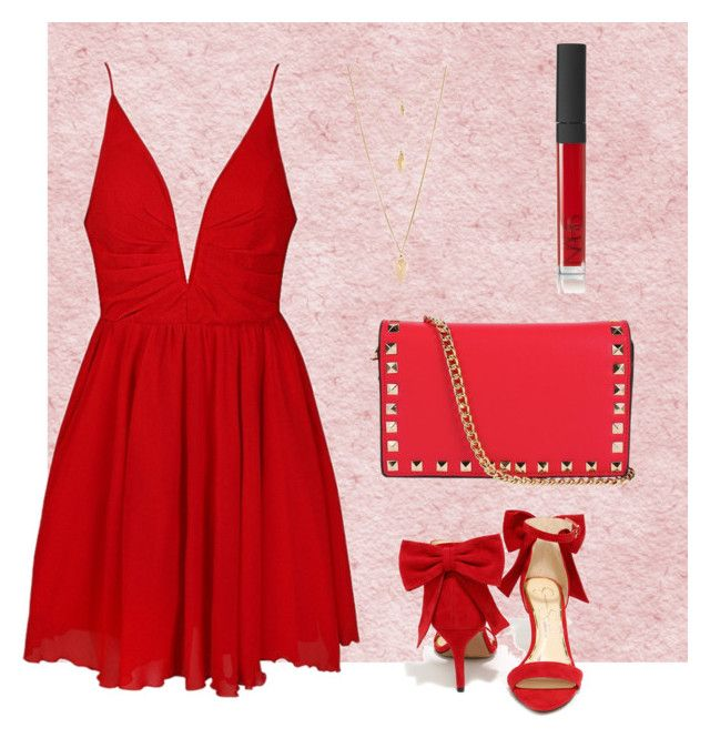 Simple red by shevira-np on Polyvore featuring polyvore, fashion, style, Ally Fashion, Jessica Simpson, Forever 21, NARS Cosmetics and clothing