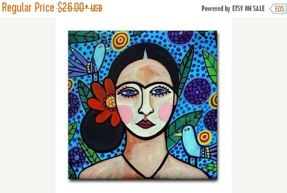 45% Off Today- Frida TILE Frida Kahlo Art Mexican Folk Art Ceramic Tile Gift COASTER