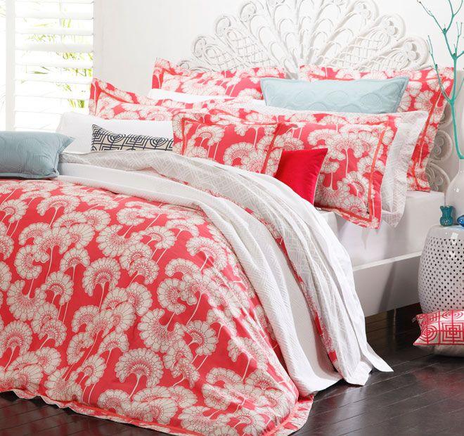 Florence Broadhurst Japanese Floral Quilt Cover Set Range Shell Pink   <3