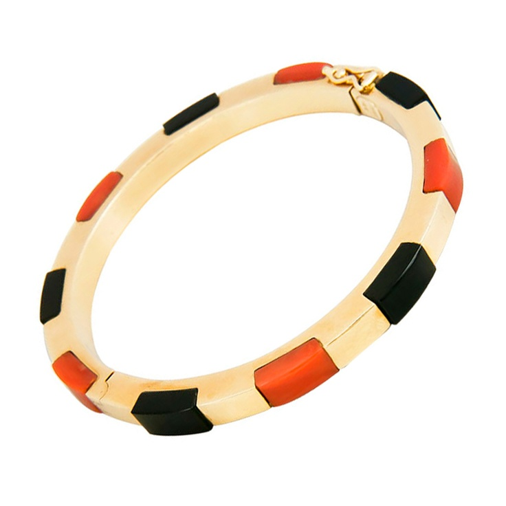 Signed Gold Coral and Onyx  Gold Bracelet