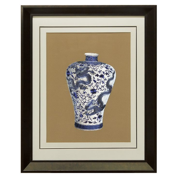 Silk Embroidery Frame with Prosperity Blue and White Dragon Vase